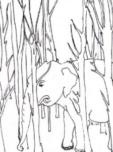 RecentPainting-13.The Elephant and Tha Bush 3